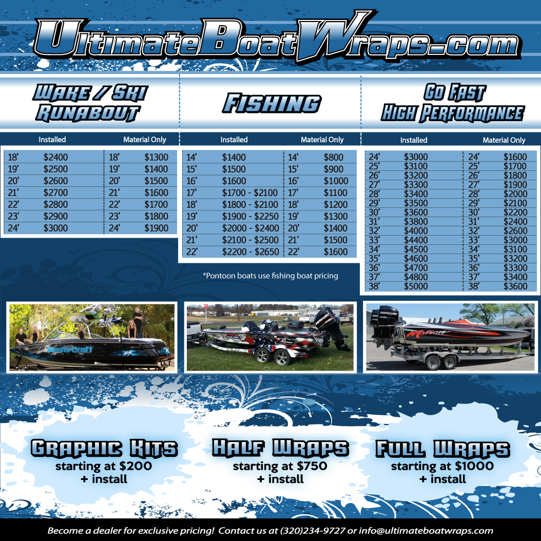 pricing ultimate boat wraps rh ultimateboatwraps com used boat motor pricing guide used boat pricing guidelines